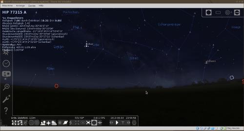 Sternenhimmel in Stellarium bei Nacht.
