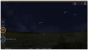 Stellarium, Buttons für Standort (orange) und Einstellungen (blau)