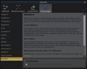 Stellarium: Sternsage auswählen