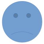 Trauriger Smiley in blau